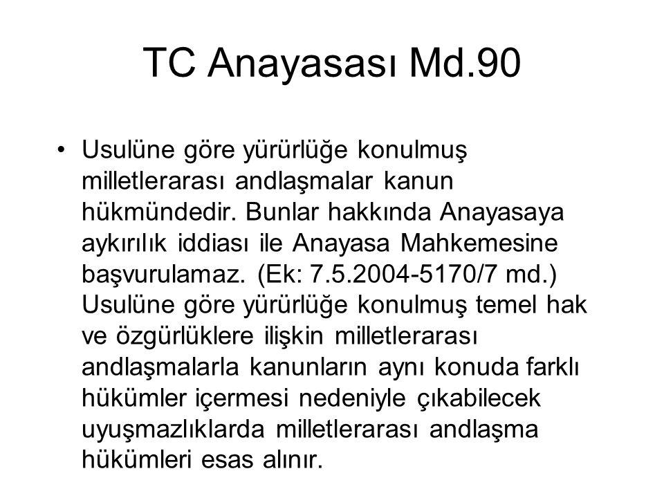 TC Anayasası Md.90 Usulüne göre yürürlüğe konulmuş milletlerarası andlaşmalar kanun hükmündedir. Bunlar hakkında Anayasaya aykırılık iddiası ile Anaya
