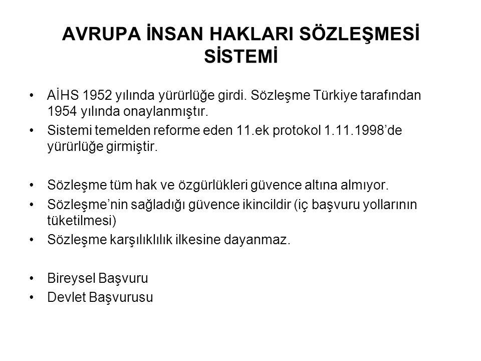 AVRUPA İNSAN HAKLARI SÖZLEŞMESİ SİSTEMİ AİHS 1952 yılında yürürlüğe girdi. Sözleşme Türkiye tarafından 1954 yılında onaylanmıştır. Sistemi temelden re