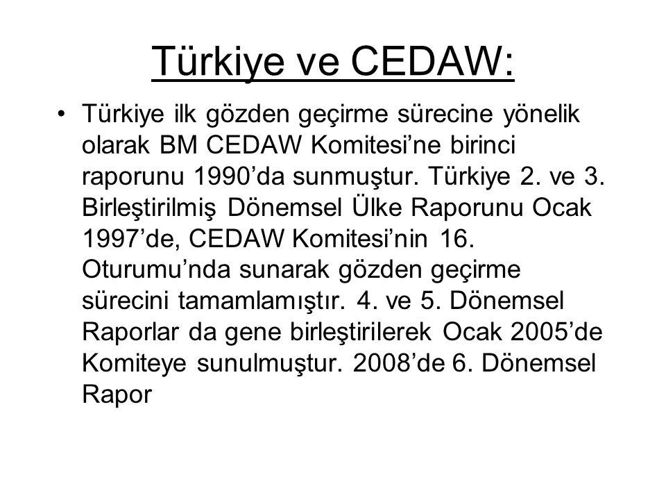 Türkiye ve CEDAW: Türkiye ilk gözden geçirme sürecine yönelik olarak BM CEDAW Komitesi'ne birinci raporunu 1990'da sunmuştur. Türkiye 2. ve 3. Birleşt