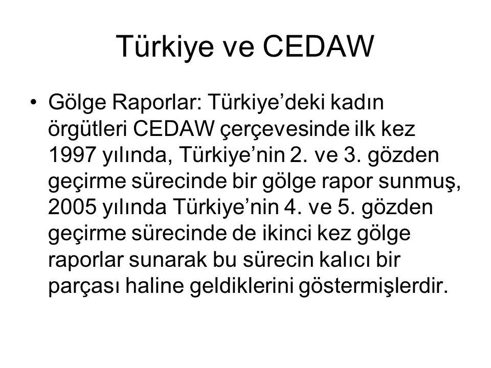 Türkiye ve CEDAW Gölge Raporlar: Türkiye'deki kadın örgütleri CEDAW çerçevesinde ilk kez 1997 yılında, Türkiye'nin 2.