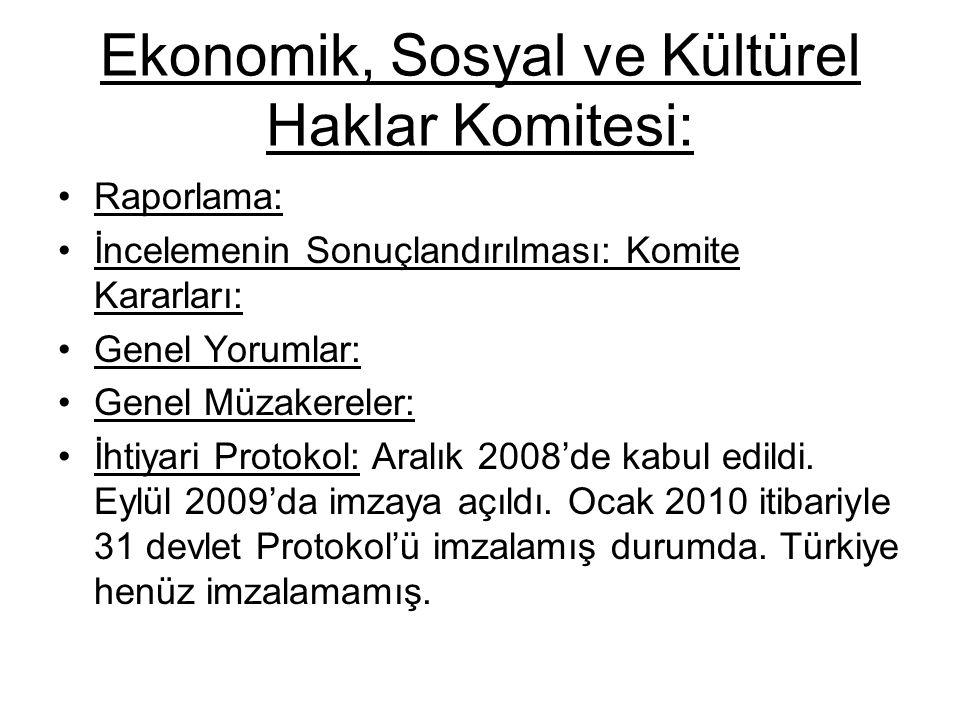 Ekonomik, Sosyal ve Kültürel Haklar Komitesi: Raporlama: İncelemenin Sonuçlandırılması: Komite Kararları: Genel Yorumlar: Genel Müzakereler: İhtiyari Protokol: Aralık 2008'de kabul edildi.