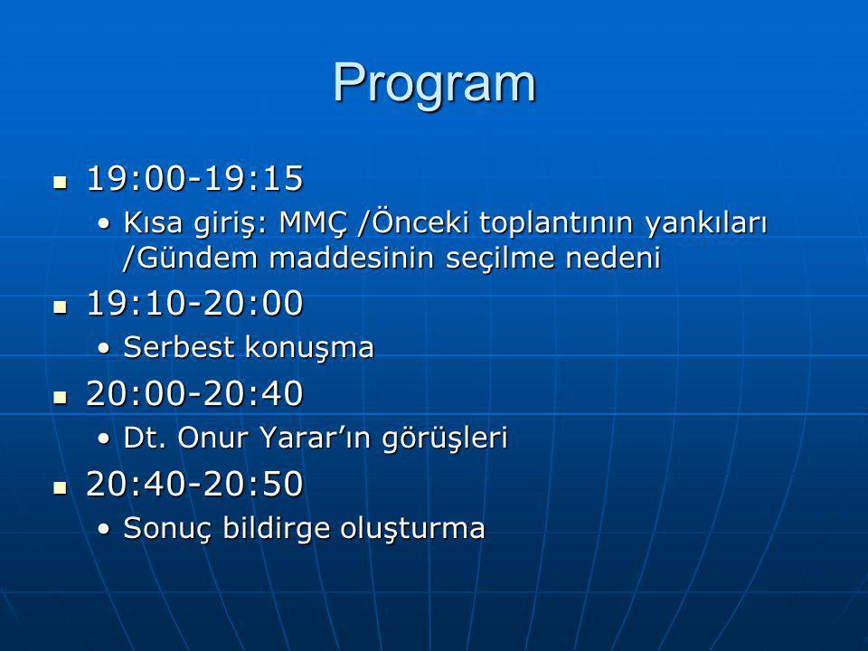 Program 19:00-19:15 19:00-19:15 Kısa giriş: MMÇ /Önceki toplantının yankıları /Gündem maddesinin seçilme nedeniKısa giriş: MMÇ /Önceki toplantının yankıları /Gündem maddesinin seçilme nedeni 19:10-20:00 19:10-20:00 Serbest konuşmaSerbest konuşma 20:00-20:40 20:00-20:40 Dt.