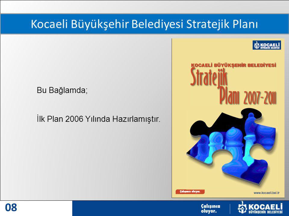 MODERN VE MODEL ŞEHİR 08 Kocaeli Büyükşehir Belediyesi Stratejik Planı Bu Bağlamda; İlk Plan 2006 Yılında Hazırlamıştır.