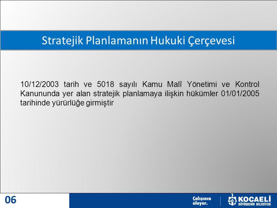 MODERN VE MODEL ŞEHİR 06 10/12/2003 tarih ve 5018 sayılı Kamu Malî Yönetimi ve Kontrol Kanununda yer alan stratejik planlamaya ilişkin hükümler 01/01/2005 tarihinde yürürlüğe girmiştir Stratejik Planlamanın Hukuki Çerçevesi