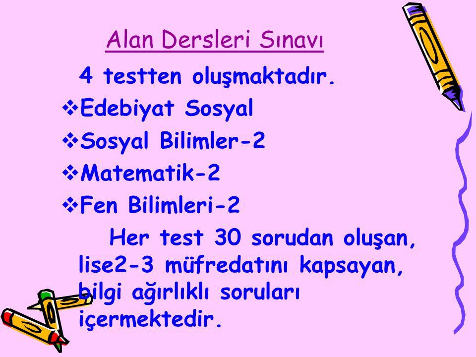 Alan Dersleri Sınavı 4 testten oluşmaktadır.