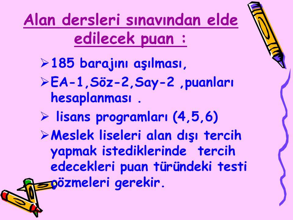 Alan dersleri sınavından elde edilecek puan :  185 barajını aşılması,  EA-1,Söz-2,Say-2,puanları hesaplanması.