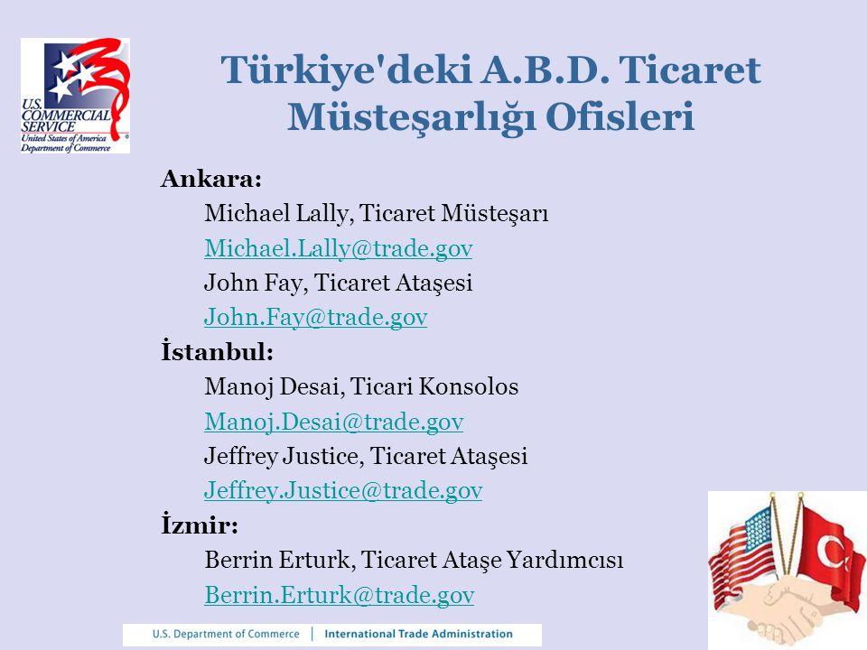 Türkiye'deki A.B.D. Ticaret Müsteşarlığı Ofisleri Ankara: Michael Lally, Ticaret Müsteşarı Michael.Lally@trade.gov John Fay, Ticaret Ataşesi John.Fay@