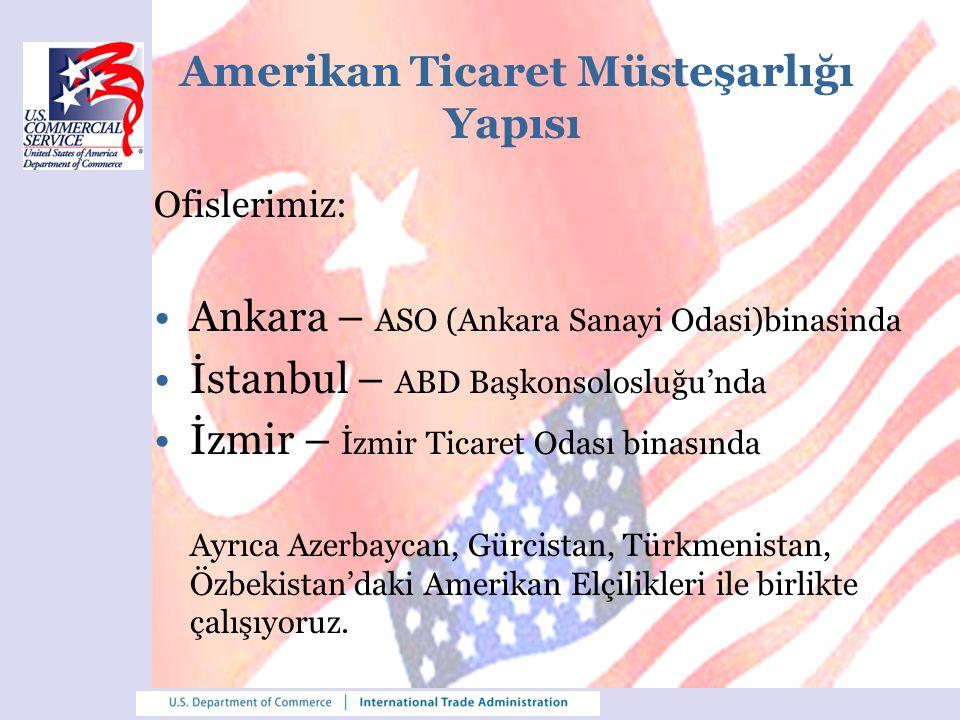 Amerikan Ticaret Müsteşarlığı Yapısı Ofislerimiz: Ankara – ASO (Ankara Sanayi Odasi)binasinda İstanbul – ABD Başkonsolosluğu'nda İzmir – İzmir Ticaret