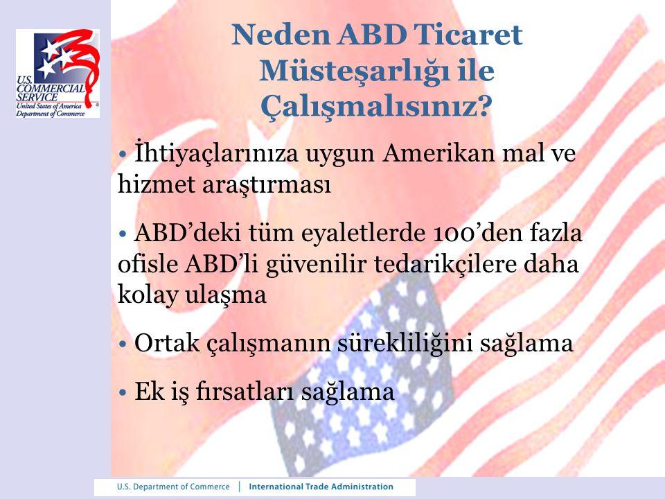Türk Firmalarına Sunulan Hizmetler - 1 Tedarikçi Belirleme Programı: geniş iletişim ağı sayesinde, uygun Amerikalı tedarikçilere kolay ulaşım Ticari Talep Programı: ithalat taleplerinin, Amerikalı firmaların ziyaret ettiği web sitesi üzerinden duyurulması