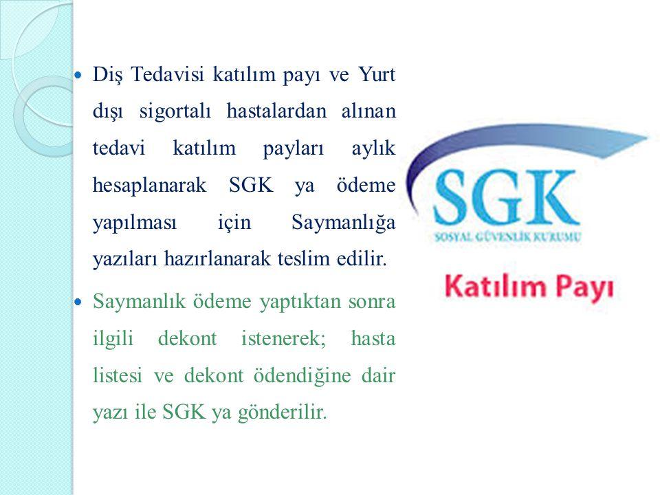 Diş Tedavisi katılım payı ve Yurt dışı sigortalı hastalardan alınan tedavi katılım payları aylık hesaplanarak SGK ya ödeme yapılması için Saymanlığa y