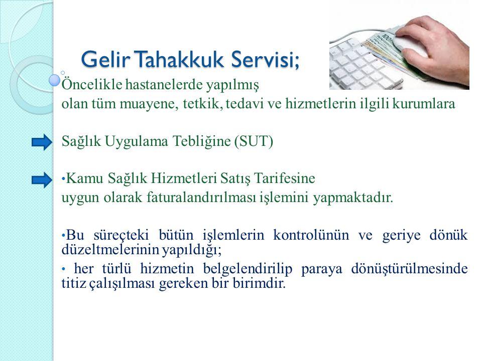 Gelir Tahakkuk Servisi; Öncelikle hastanelerde yapılmış olan tüm muayene, tetkik, tedavi ve hizmetlerin ilgili kurumlara Sağlık Uygulama Tebliğine (SU