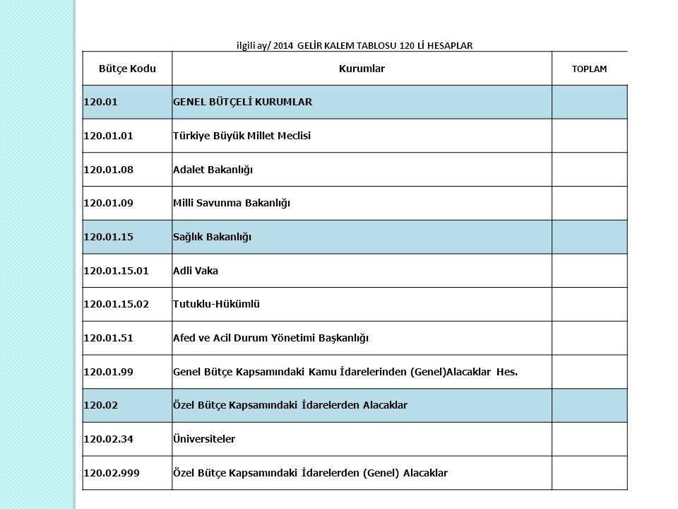 ilgili ay/ 2014 GELİR KALEM TABLOSU 120 Lİ HESAPLAR Bütçe KoduKurumlar TOPLAM 120.01GENEL BÜTÇELİ KURUMLAR 120.01.01Türkiye Büyük Millet Meclisi 120.0
