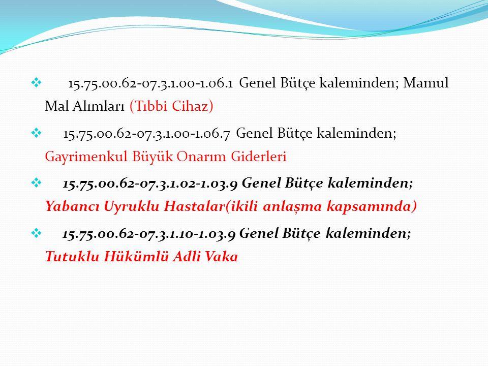  15.75.00.62-07.3.1.00-1.06.1 Genel Bütçe kaleminden; Mamul Mal Alımları (Tıbbi Cihaz)  15.75.00.62-07.3.1.00-1.06.7 Genel Bütçe kaleminden; Gayrime