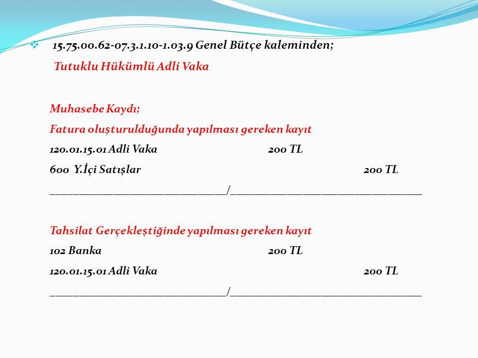  15.75.00.62-07.3.1.10-1.03.9 Genel Bütçe kaleminden; Tutuklu Hükümlü Adli Vaka Muhasebe Kaydı; Fatura oluşturulduğunda yapılması gereken kayıt 120.0