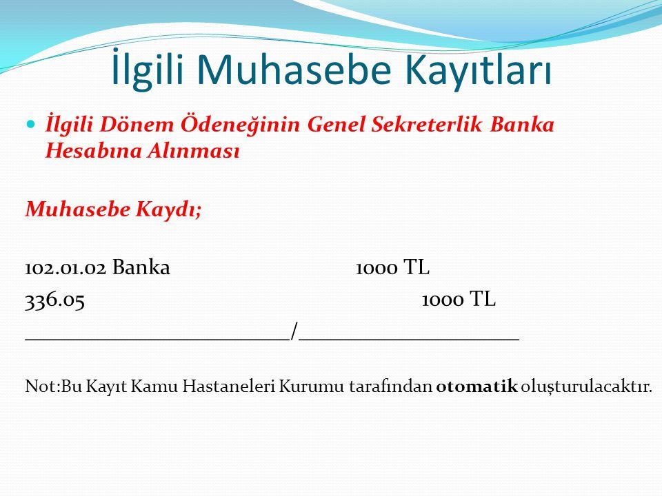 İlgili Muhasebe Kayıtları İlgili Dönem Ödeneğinin Genel Sekreterlik Banka Hesabına Alınması Muhasebe Kaydı; 102.01.02 Banka1000 TL 336.051000 TL _____