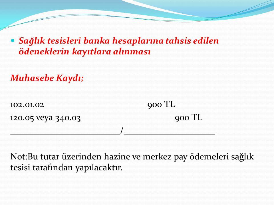Sağlık tesisleri banka hesaplarına tahsis edilen ödeneklerin kayıtlara alınması Muhasebe Kaydı; 102.01.02900 TL 120.05 veya 340.03900 TL _____________