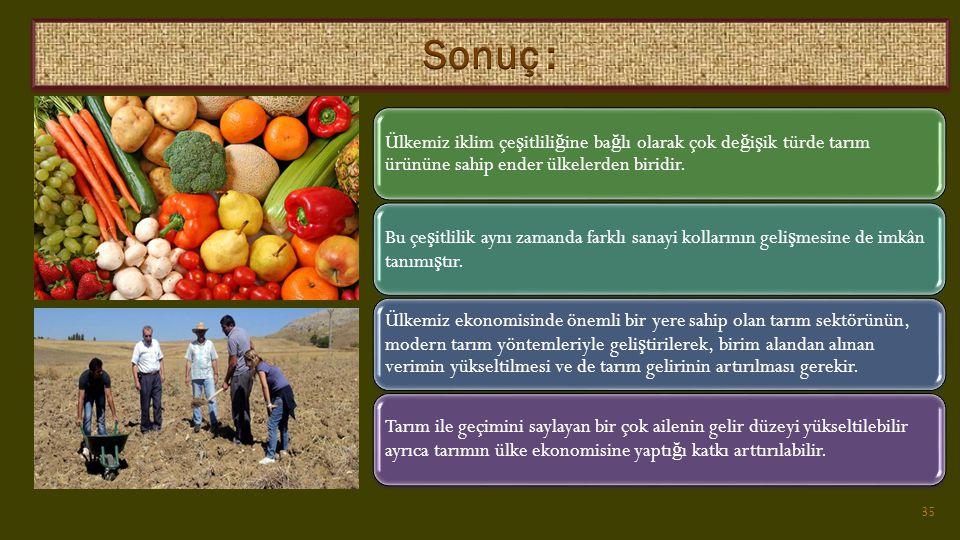 Ülkemiz iklim çe ş itlili ğ ine ba ğ lı olarak çok de ğ i ş ik türde tarım ürününe sahip ender ülkelerden biridir.