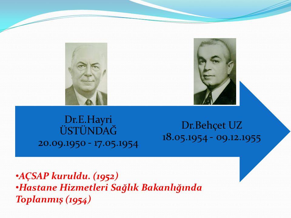 Dr.Behçet UZ 18.05.1954 - 09.12.1955 Dr.E.Hayri ÜSTÜNDAĞ 20.09.1950 - 17.05.1954 AÇSAP kuruldu. (1952) Hastane Hizmetleri Sağlık Bakanlığında Toplanmı