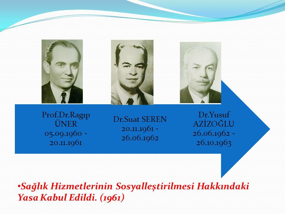 Dr.Yusuf AZİZOĞLU 26.06.1962 - 26.10.1963 Dr.Suat SEREN 20.11.1961 - 26.06.1962 Prof.Dr.Ragıp ÜNER 05.09.1960 - 20.11.1961 Sağlık Hizmetlerinin Sosyal