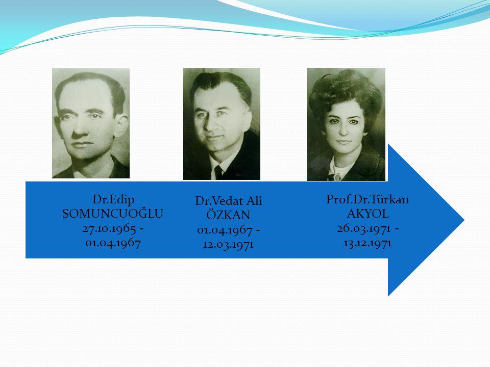 Prof.Dr.Türkan AKYOL 26.03.1971 - 13.12.1971 Dr.Vedat Ali ÖZKAN 01.04.1967 - 12.03.1971 Dr.Edip SOMUNCUOĞLU 27.10.1965 - 01.04.1967