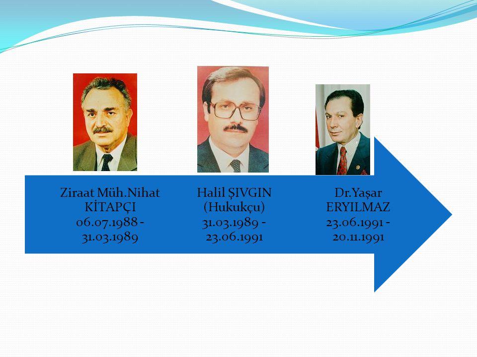 Dr.Yaşar ERYILMAZ 23.06.1991 - 20.11.1991 Halil ŞIVGIN (Hukukçu) 31.03.1989 - 23.06.1991 Ziraat Müh.Nihat KİTAPÇI 06.07.1988 - 31.03.1989