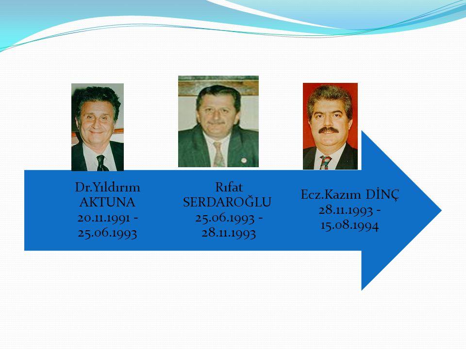 Ecz.Kazım DİNÇ 28.11.1993 - 15.08.1994 Rıfat SERDAROĞLU 25.06.1993 - 28.11.1993 Dr.Yıldırım AKTUNA 20.11.1991 - 25.06.1993
