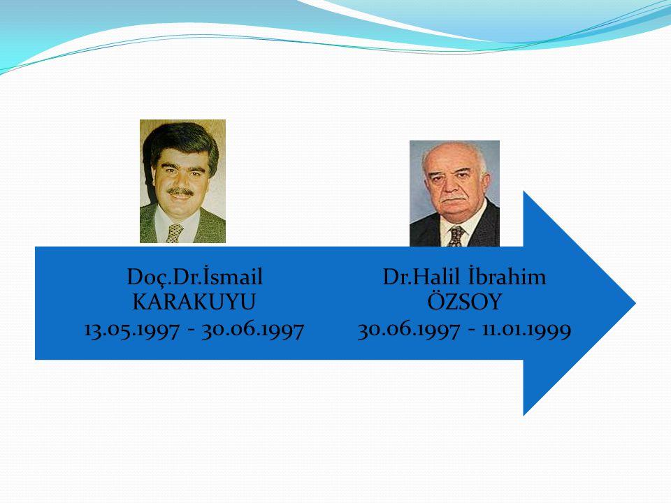Dr.Halil İbrahim ÖZSOY 30.06.1997 - 11.01.1999 Doç.Dr.İsmail KARAKUYU 13.05.1997 - 30.06.1997