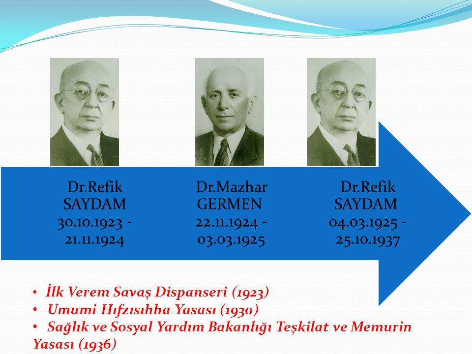 Dr.Refik SAYDAM 04.03.1925 - 25.10.1937 Dr.Mazhar GERMEN 22.11.1924 - 03.03.1925 Dr.Refik SAYDAM 30.10.1923 - 21.11.1924 İlk Verem Savaş Dispanseri (1
