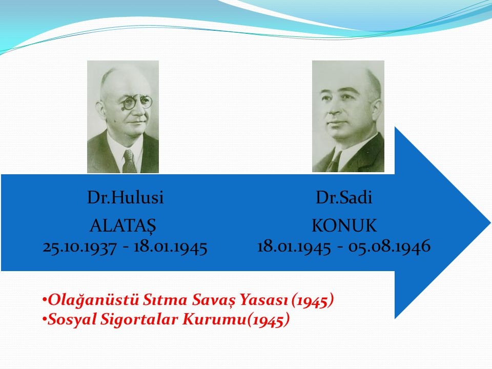 Dr.Sadi KONUK 18.01.1945 - 05.08.1946 Dr.Hulusi ALATAŞ 25.10.1937 - 18.01.1945 Olağanüstü Sıtma Savaş Yasası (1945) Sosyal Sigortalar Kurumu(1945)