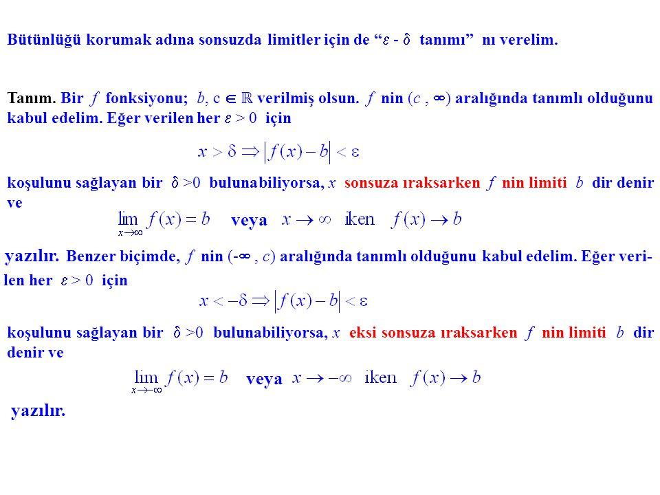 Benzer biçimde, c herhangi bir reel sayı olmak üzere (- ,c) aralığında tanımlı bir f fonk- siyonu için x sınırsız olarak azalırken, yani x x - - için f (x) değerlerinin nasıl değiştiğini bilmek isteriz.