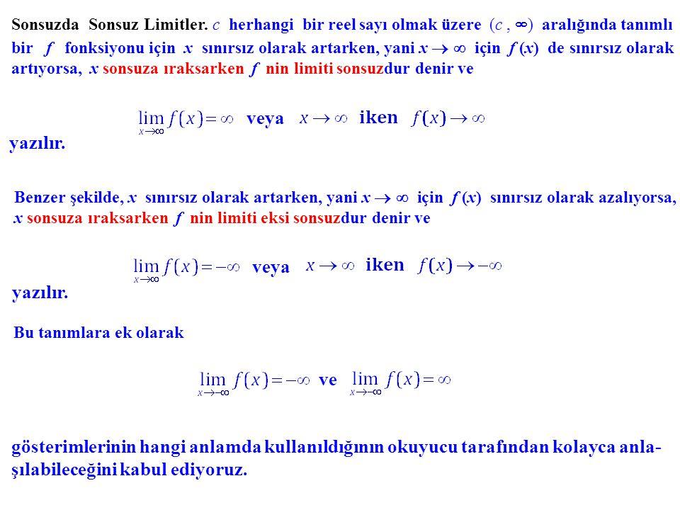 Örnekler.Eğer ise, y = b doğrusu f fonksiyonunun grafiğine Örnek.