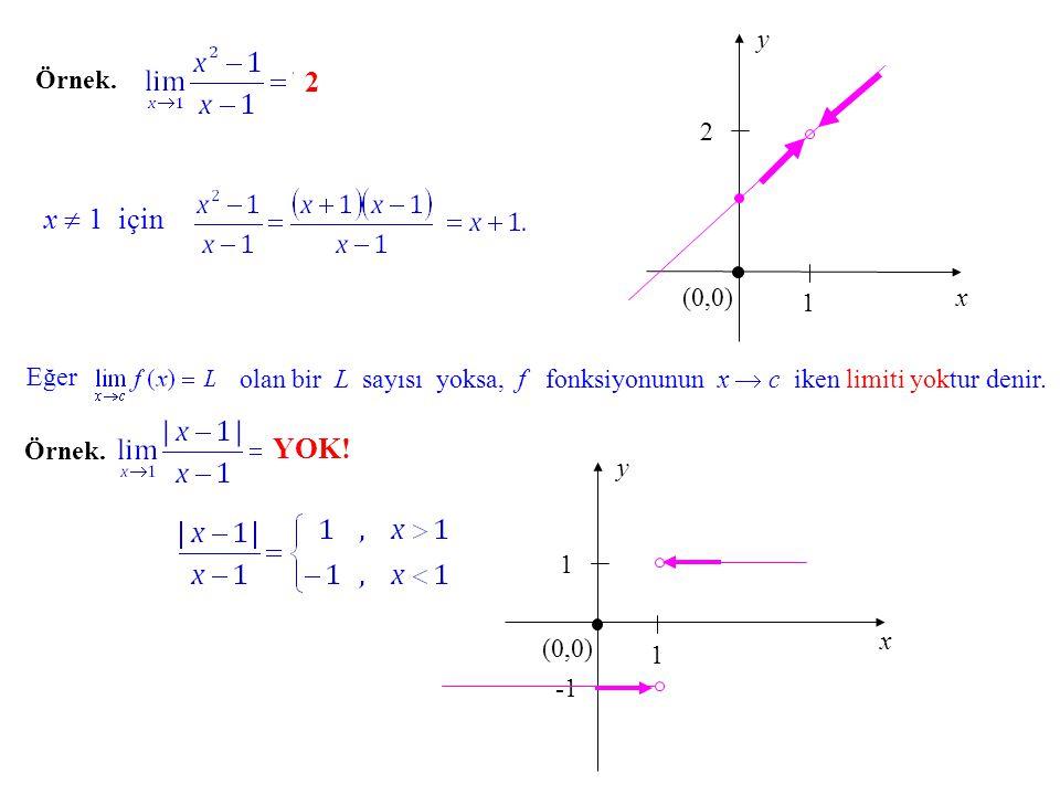 Daha önce verdiğimiz limit örneği için   -  tanımı şöyle uygulanabilir: dır; çünkü,  > 0 verildiğinde tanımdaki koşulu sağlayan  >0 sayısı olarak  =  /2 almak yeterli olur.