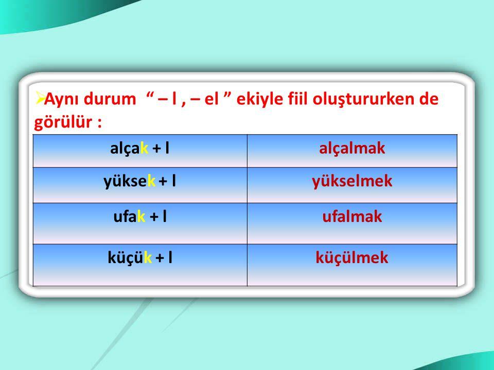 """ Sonu """" k """" ile biten bazı sözcükler küçültme eki ( - cik, - cek ) aldıklarında """" k"""" sesi düşer. küçük + cükküçücük ufak + cıkufacık sıcak + cıksıcac"""