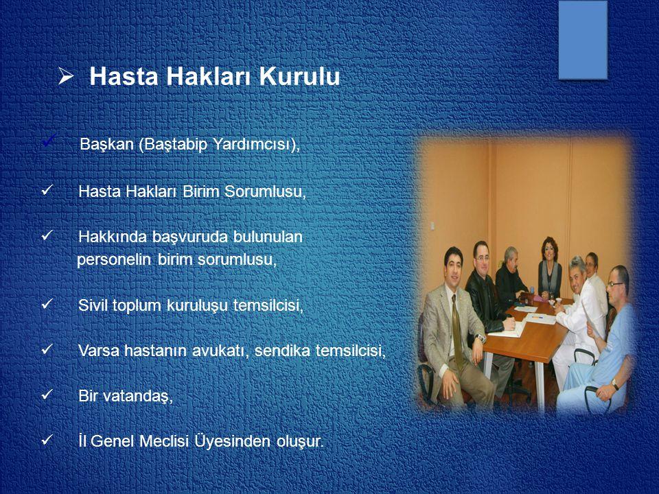  Hasta Hakları Kurulu Başkan (Baştabip Yardımcısı), Hasta Hakları Birim Sorumlusu, Hakkında başvuruda bulunulan personelin birim sorumlusu, Sivil top