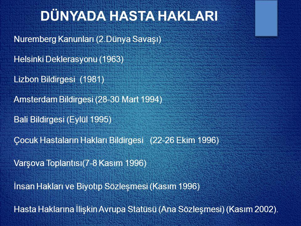 DÜNYADA HASTA HAKLARI Nuremberg Kanunları (2.Dünya Savaşı) Helsinki Deklerasyonu (1963) Lizbon Bildirgesi (1981) Amsterdam Bildirgesi (28-30 Mart 1994