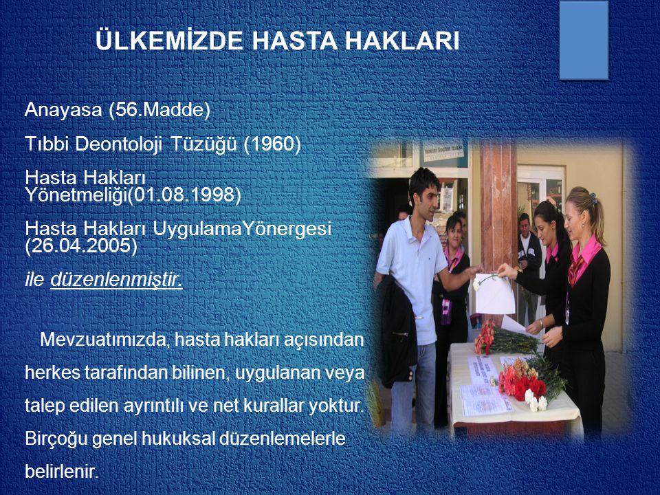 ÜLKEMİZDE HASTA HAKLARI Anayasa (56.Madde) Tıbbi Deontoloji Tüzüğü (1960) Hasta Hakları Yönetmeliği(01.08.1998) Hasta Hakları UygulamaYönergesi (26.04