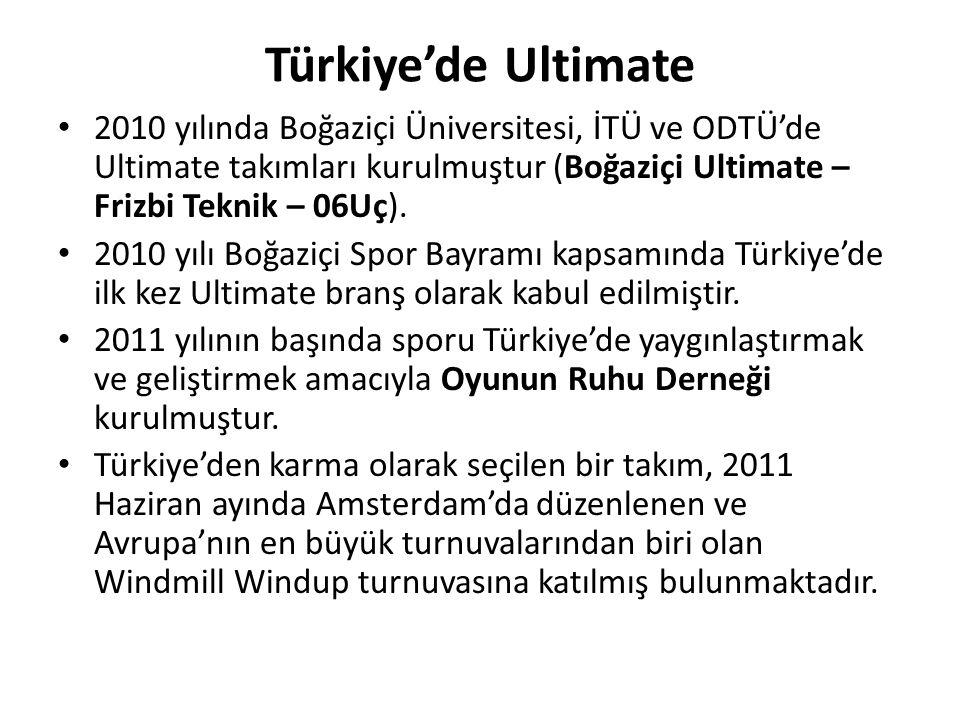 Türkiye'de Ultimate 2010 yılında Boğaziçi Üniversitesi, İTÜ ve ODTÜ'de Ultimate takımları kurulmuştur (Boğaziçi Ultimate – Frizbi Teknik – 06Uç). 2010