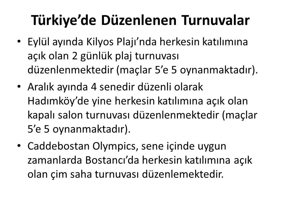 Türkiye'de Düzenlenen Turnuvalar Eylül ayında Kilyos Plajı'nda herkesin katılımına açık olan 2 günlük plaj turnuvası düzenlenmektedir (maçlar 5'e 5 oy