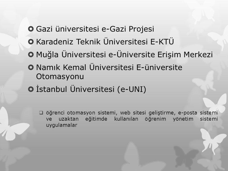  Gazi üniversitesi e-Gazi Projesi  Karadeniz Teknik Üniversitesi E-KTÜ  Muğla Üniversitesi e-Üniversite Erişim Merkezi  Namık Kemal Üniversitesi E