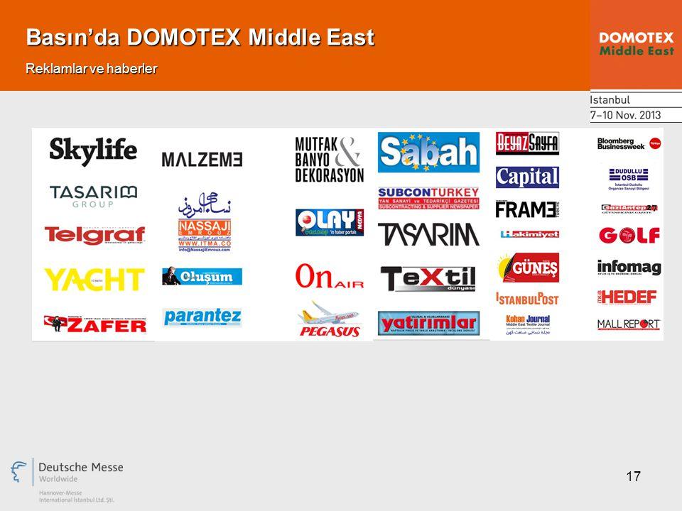 17 Basın'da DOMOTEX Middle East Reklamlar ve haberler