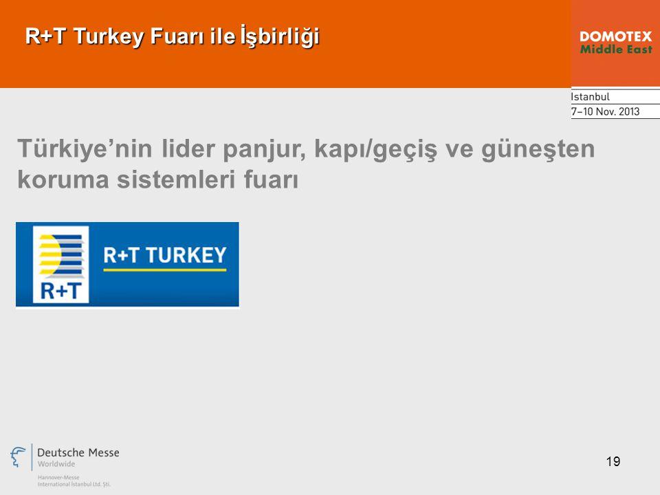 19 R+T Turkey Fuarı ile İşbirliği Türkiye'nin lider panjur, kapı/geçiş ve güneşten koruma sistemleri fuarı