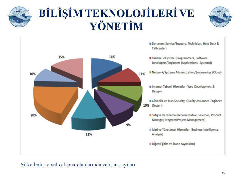 BİLİŞİM TEKNOLOJİLERİ VE YÖNETİM Şirketlerin temel çalışma alanlarında çalışan sayıları 15