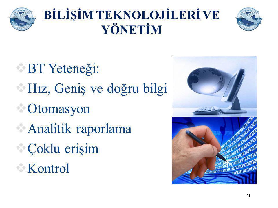 BİLİŞİM TEKNOLOJİLERİ VE YÖNETİM  BT Yeteneği:  Hız, Geniş ve doğru bilgi  Otomasyon  Analitik raporlama  Çoklu erişim  Kontrol 23