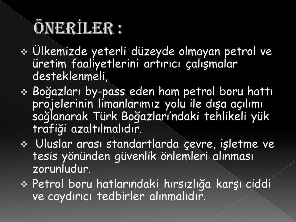  Ülkemizde yeterli düzeyde olmayan petrol ve üretim faaliyetlerini artırıcı çalışmalar desteklenmeli,  Boğazları by-pass eden ham petrol boru hattı projelerinin limanlarımız yolu ile dışa açılımı sağlanarak Türk Boğazları'ndaki tehlikeli yük trafiği azaltılmalıdır.