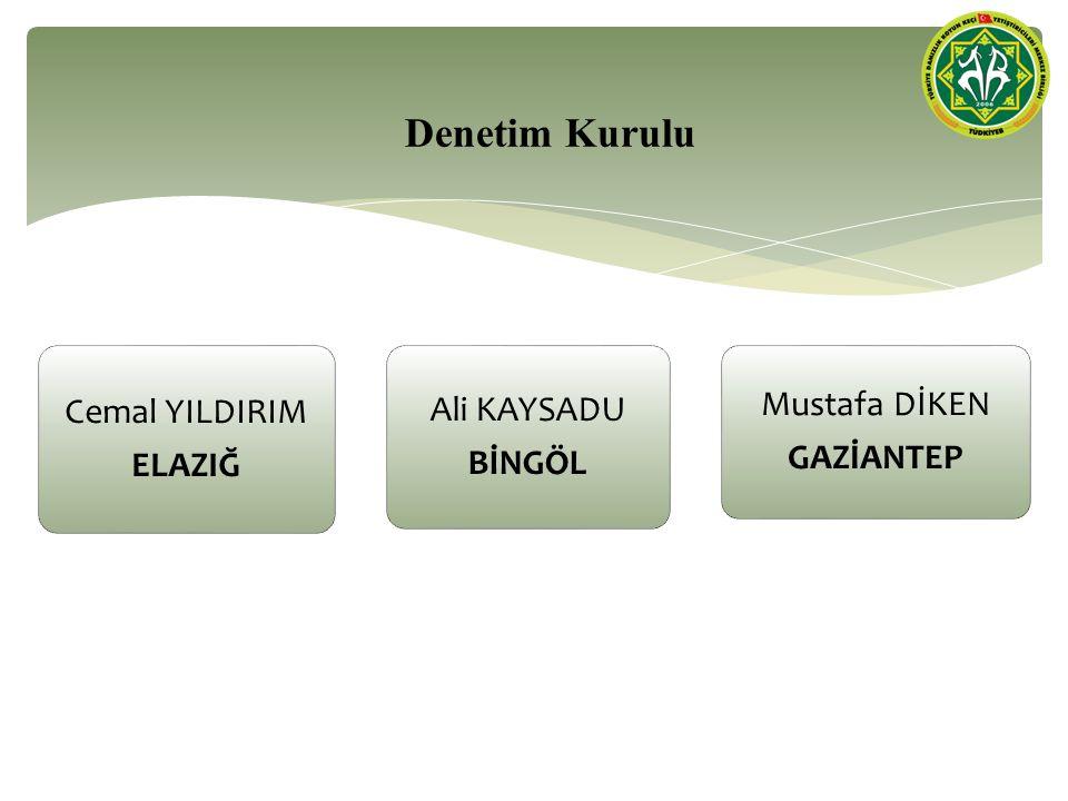 Denetim Kurulu Cemal YILDIRIM ELAZIĞ Ali KAYSADU BİNGÖL Mustafa DİKEN GAZİANTEP