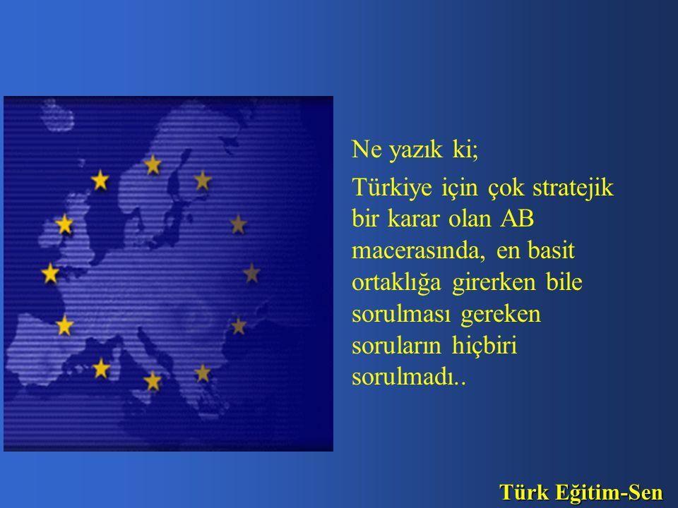 Ne yazık ki; Türkiye için çok stratejik bir karar olan AB macerasında, en basit ortaklığa girerken bile sorulması gereken soruların hiçbiri sorulmadı..