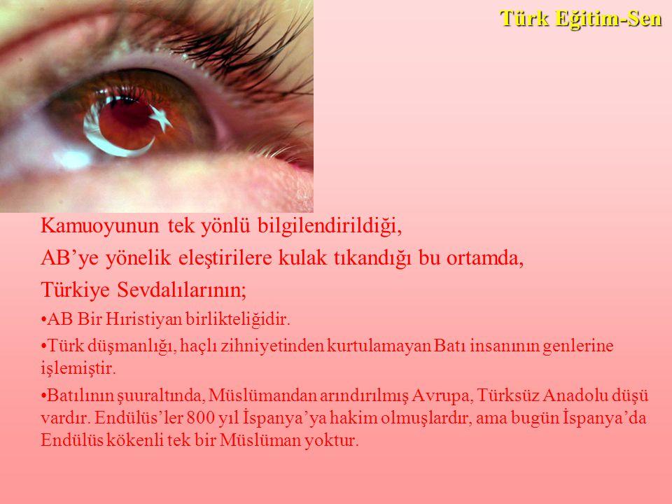 Kamuoyunun tek yönlü bilgilendirildiği, AB'ye yönelik eleştirilere kulak tıkandığı bu ortamda, Türkiye Sevdalılarının; AB Bir Hıristiyan birlikteliğidir.