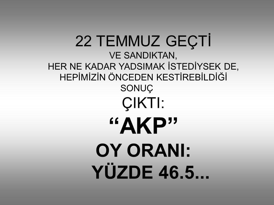 22 TEMMUZ GEÇTİ VE SANDIKTAN, HER NE KADAR YADSIMAK İSTEDİYSEK DE, HEPİMİZİN ÖNCEDEN KESTİREBİLDİĞİ SONUÇ ÇIKTI: AKP OY ORANI: YÜZDE 46.5...