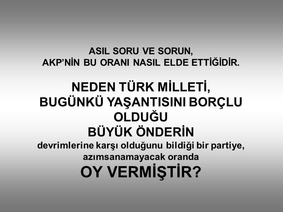 ASIL SORU VE SORUN, AKP'NİN BU ORANI NASIL ELDE ETTİĞİDİR.