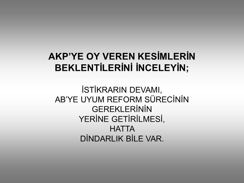 AKP'YE OY VEREN KESİMLERİN BEKLENTİLERİNİ İNCELEYİN; İSTİKRARIN DEVAMI, AB'YE UYUM REFORM SÜRECİNİN GEREKLERİNİN YERİNE GETİRİLMESİ, HATTA DİNDARLIK BİLE VAR.
